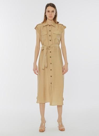 Monamoda Düğmeli Çift Cep Gömlek Elbise Camel